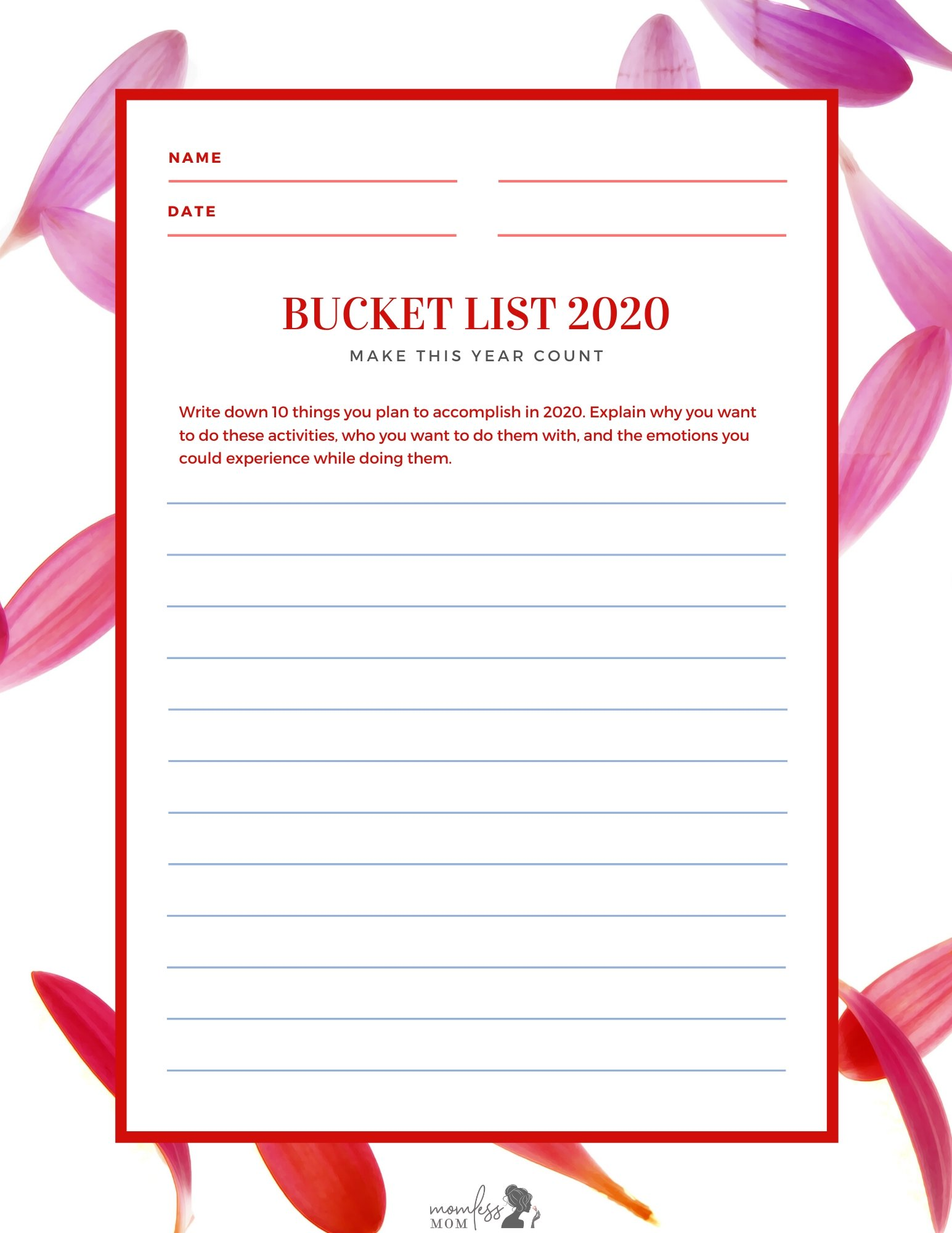 New year messages and bucketlist