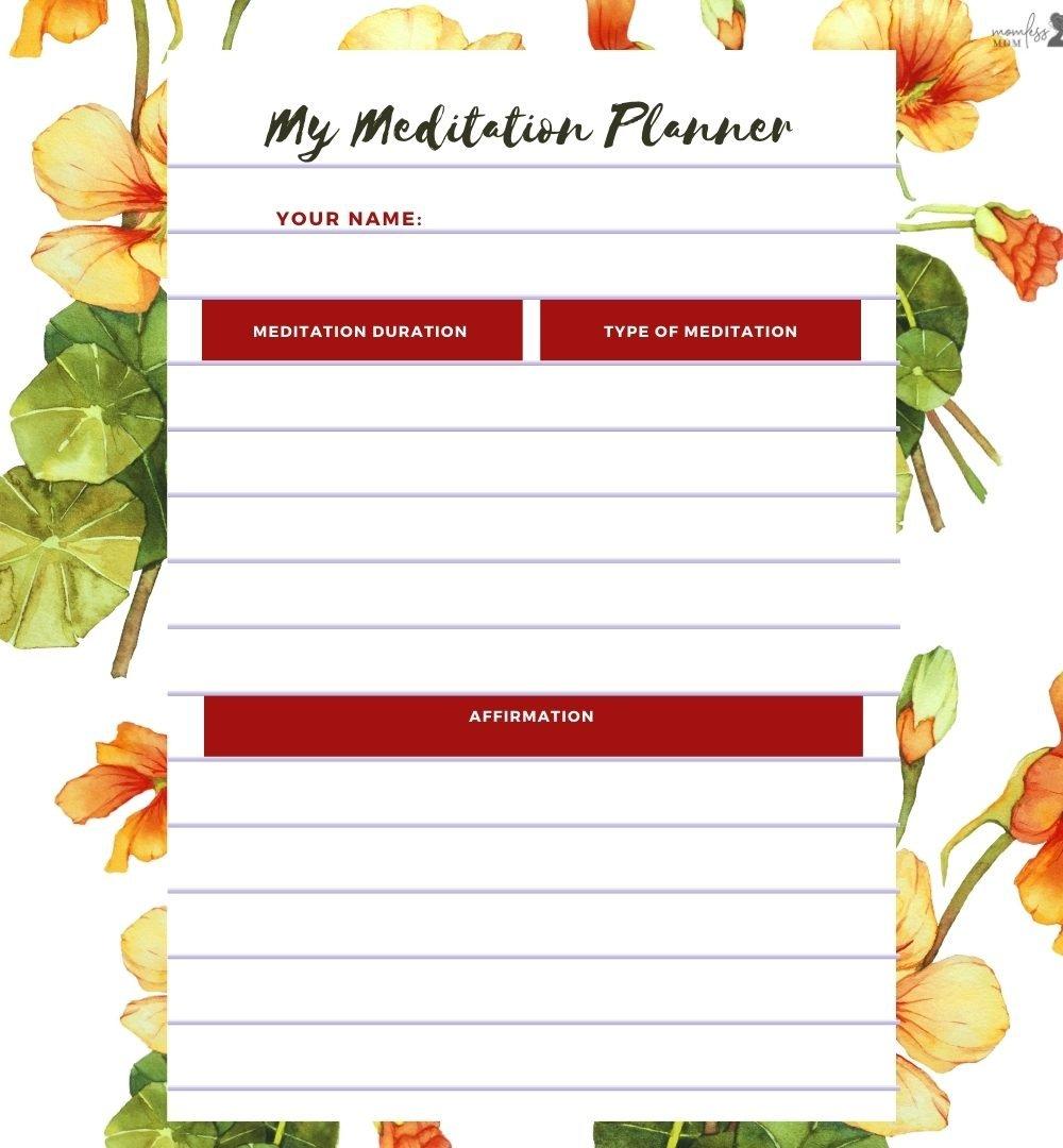 My Meditation Planner Printable Free Download