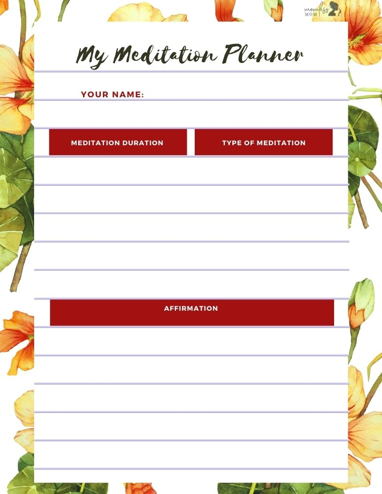 My Meditation Planner Printable